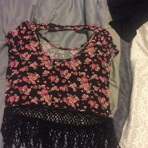 Tilly's Tops - Women's black and pink floral top